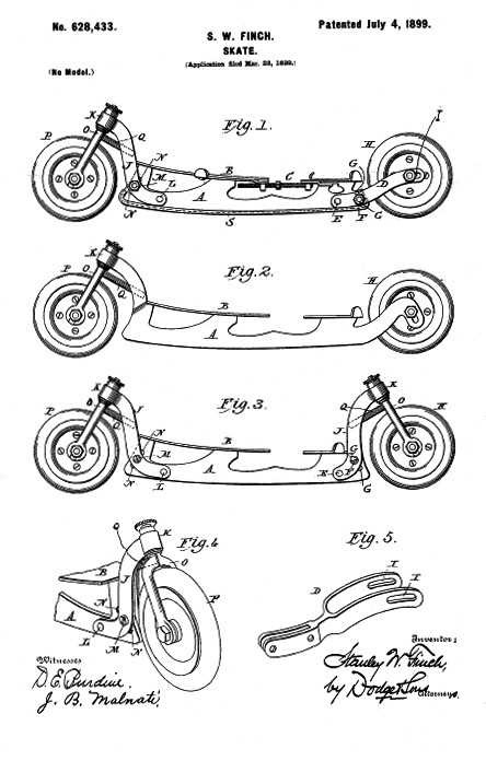 An 1899 patent for an inline skate filed by Stanley Finch; the first director of the Bureau was also an inventor.