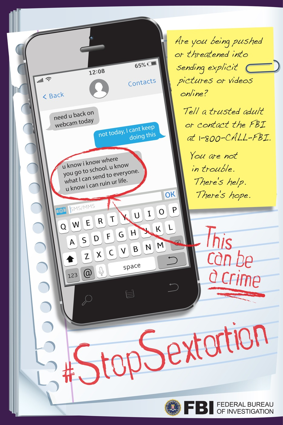 Poster encouraging young people to report sextortion to the FBI if they are a victim.
