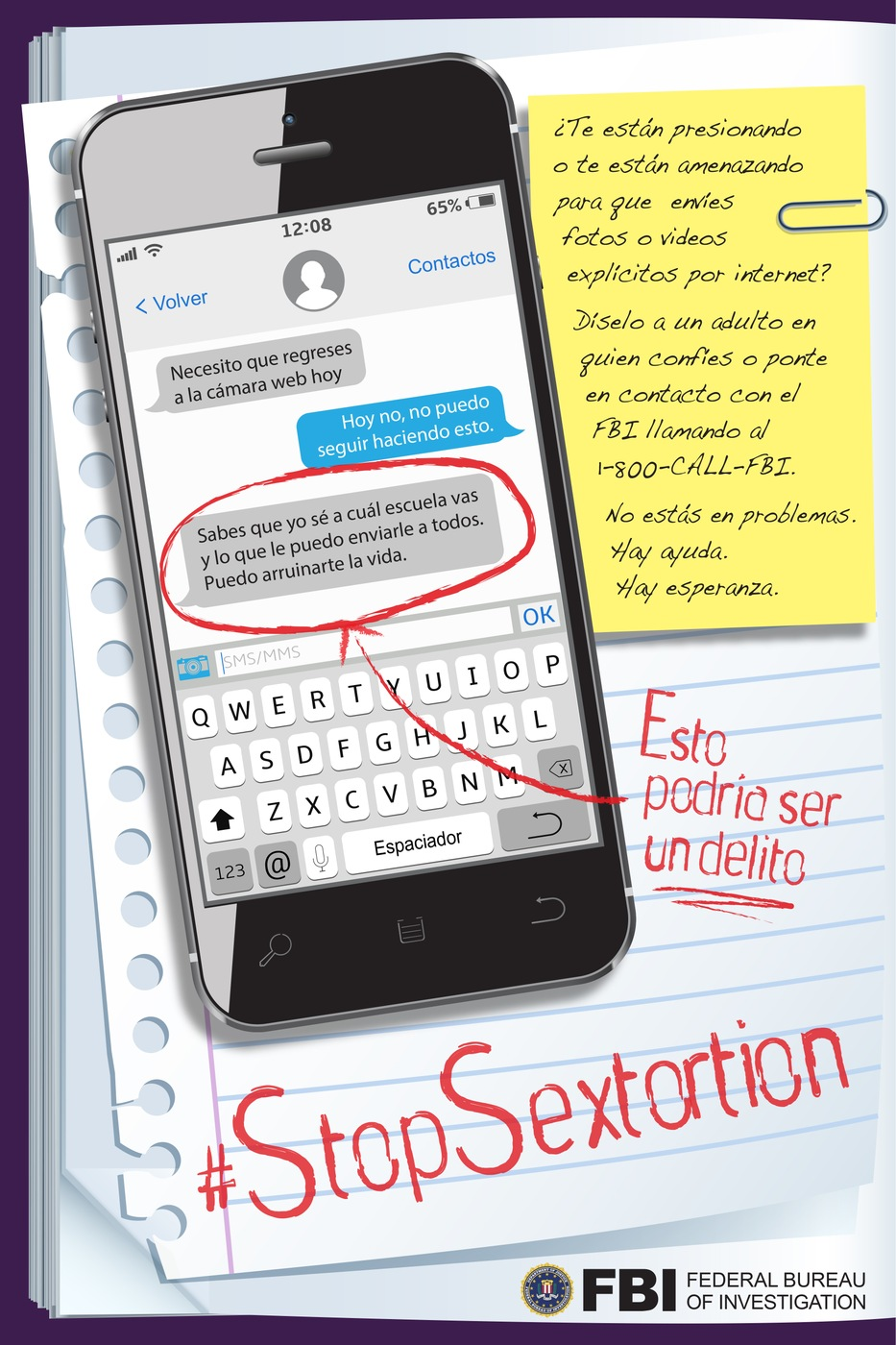 Spanish version of poster encouraging young people to report sextortion to the FBI if they are a victim.