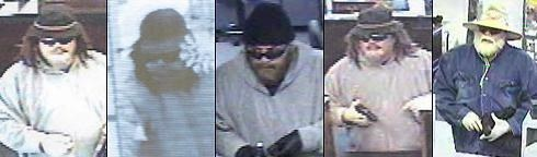 The suspect always wears disguises, like a fake beard and hair, hats, sunglasses, and gloves.