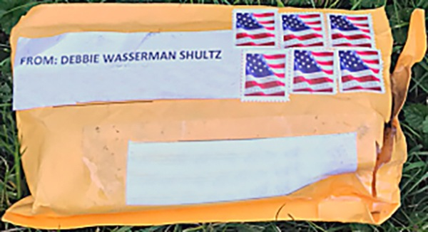 Photograph of the exterior of one of the suspicious packages sent to multiple locations between October 22 and 24, 2018. The mailing address and return address have been edited out of the photo to protect privacy.