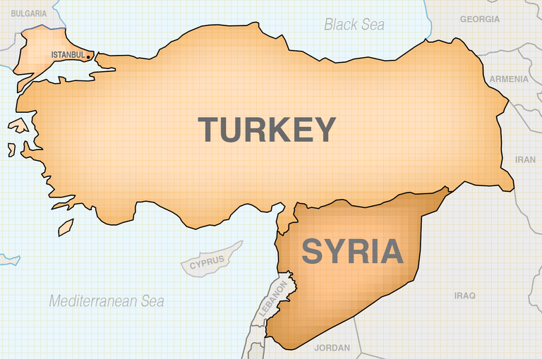 Locator map highlighting the countries of Turkey and Syria.