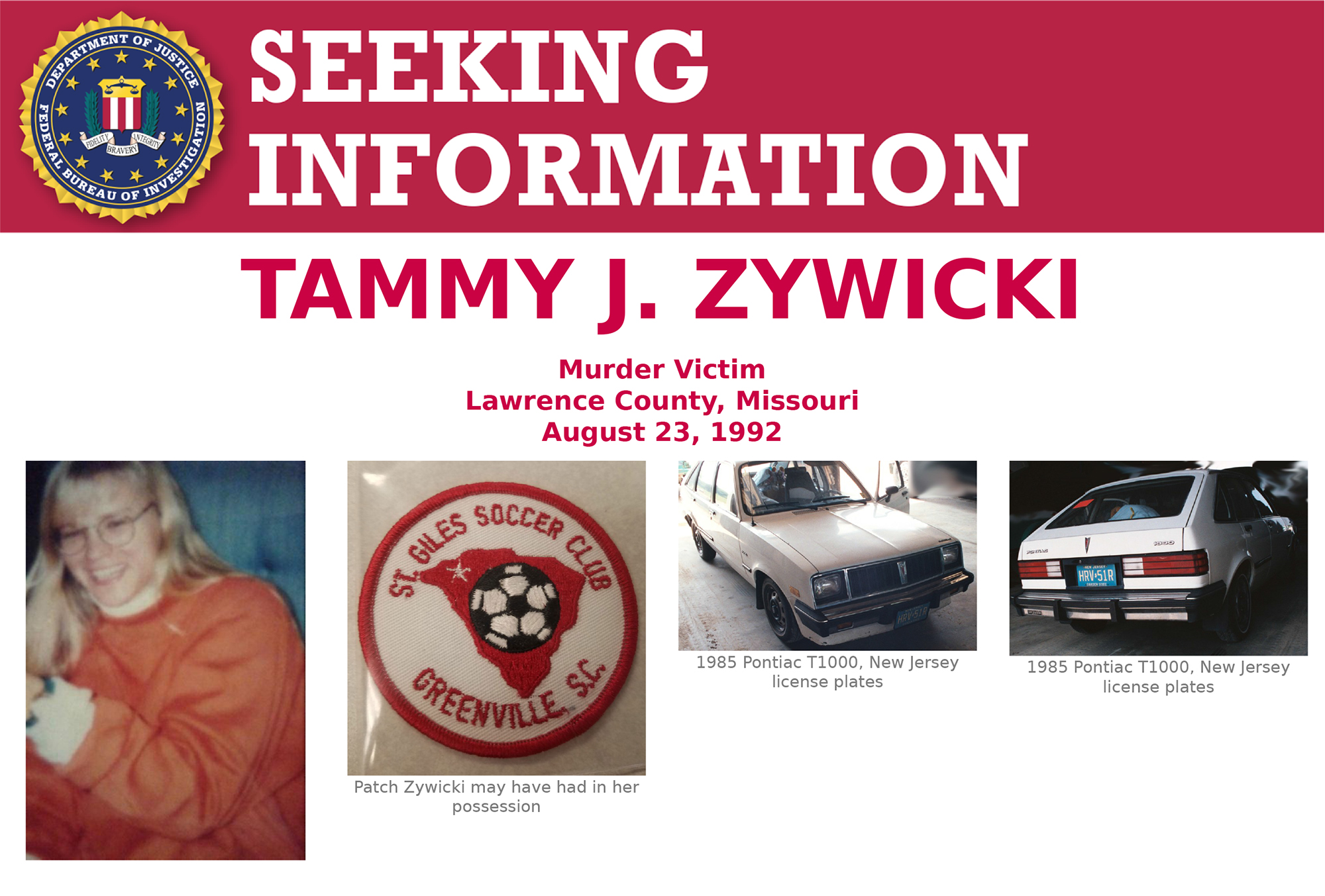 Screenshot showing top part of Tammy Zywicki's Seeking Information poster. Zywicki was murdered August 23, 1992, and the case remains unsolved 25 years later.