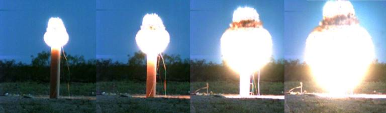 Photo sequence of explosives testing at the TIEDS Center test range.