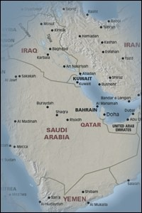 Map of Saudi Arabia including parts of Iraq , Iran , Kuwait , Qatar , United Arab Emirates , and Yemen.