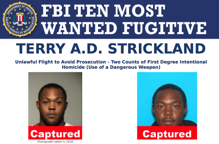 Screenshot of top part of Terry A.D. Strickland's FBI Ten Most Wanted Fugitive poster.