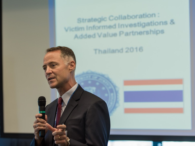 Ernie Weyand, assistant legal attache for the FBI office in Bangkok, speaks during training for Thai law enforcement officials and non-governmental organizations on providing a more victim-centered approach.