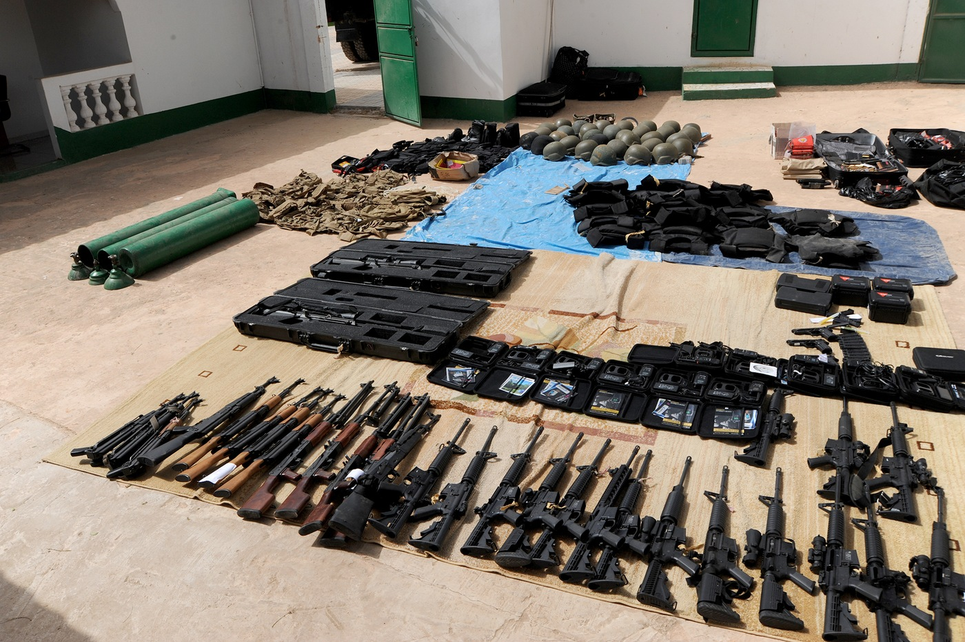 Gear used and stockpiled for an unsuccessful coup attempt in The Gambia in 2014, seized by national forces.