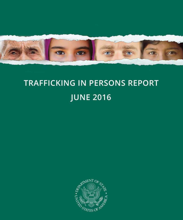 Cover of the Trafficking in Persons Report, June 2016.
