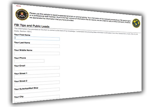 Screenshot of the FBI electronic form for gathering tips and leads from the public.