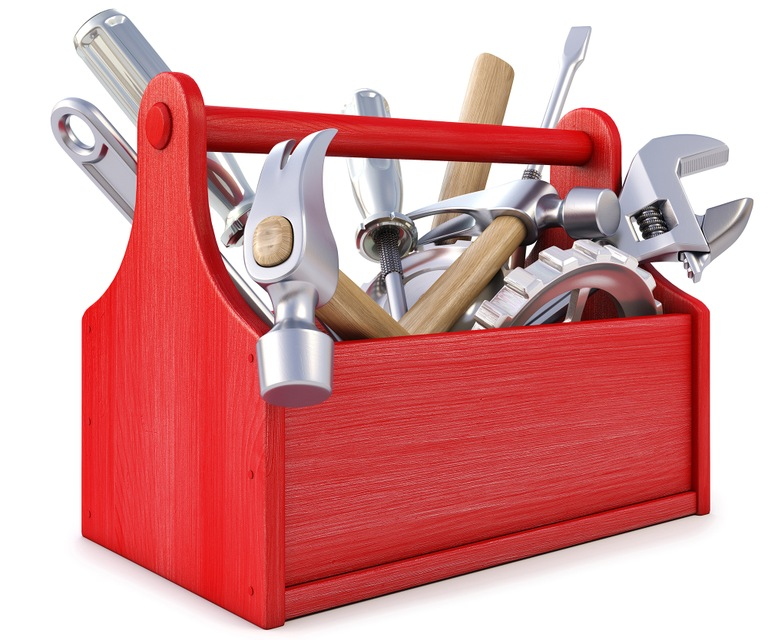 Stock graphic of an open toolbox with various tools and parts.