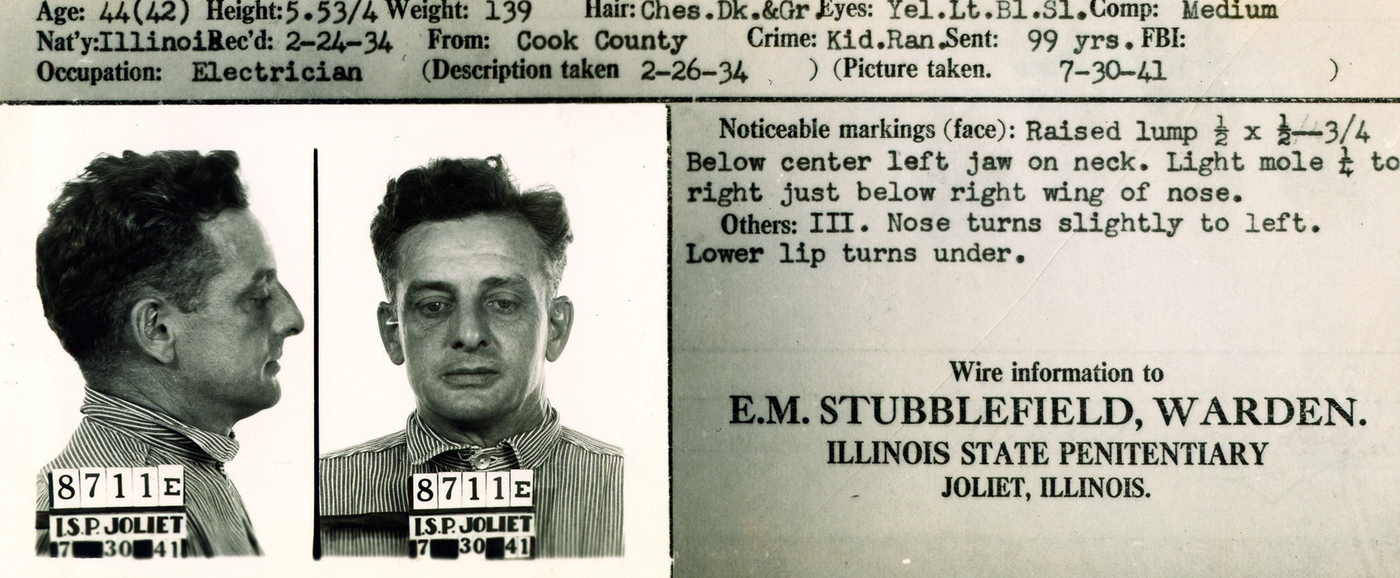 "Mug shot and partial criminal record of Roger ""The Terrible"" Touhy. Touhy and his gang of violent criminals escaped from a penitentiary in Illinois in October 1942."