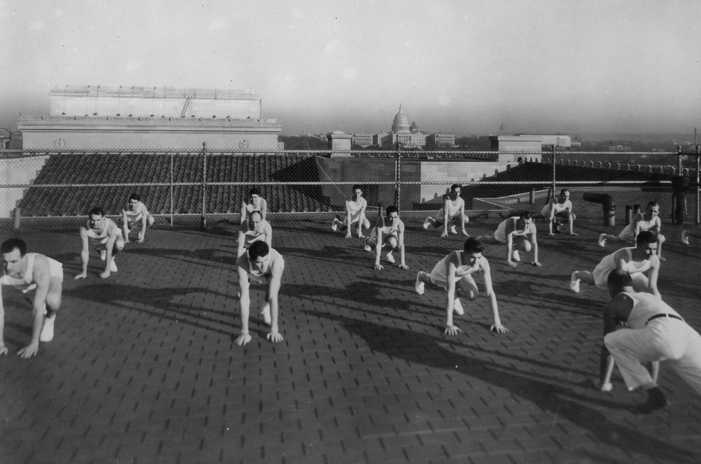 New agents train on the rooftop of the former FBI Headquarters building in Washington, D.C. in the 1930s. Today, the FBI trains new agents and partners alike on its campus in Quantico, Virginia.