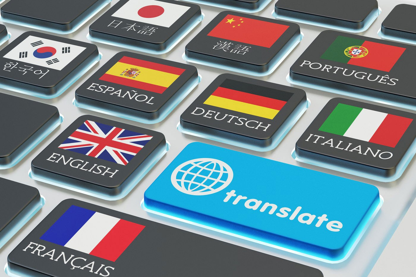 Stock image depicting computer keyboard with keys representing different countries and languages as well as translate key.