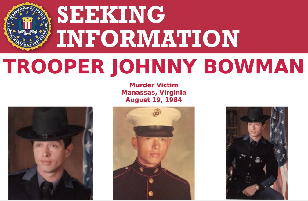 Screenshot of top portion of Trooper Johnny Bowman's Seeking Information poster; Bowman was murdered on August 19, 1984, and the case is still unsolved.