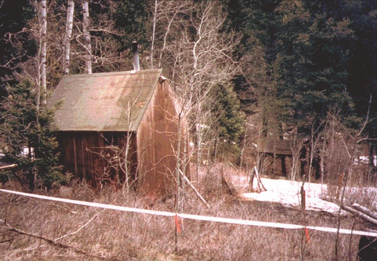 Cabin of Theodore Kaczynski, the Unabomber, in the woods of Montana, where he was arrested on April 3, 1996.