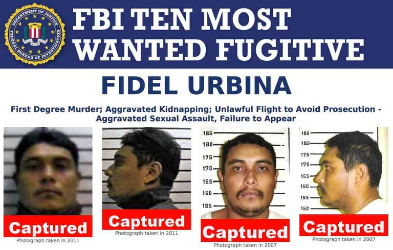 Image of top section of Fidel Urbina's Ten Most Wanted Fugitive poster displaying captured banners over his photographs. Fidel Urbina was taken into custody on September 22, 2016 without incident just outside Valle de Zaragoza, Chihuahua, Mexico. He was apprehended by PFM (Policía Federal Ministerial) Interpol. Urbina was placed on the FBI's Ten Most Wanted Fugitives list in June 2012.