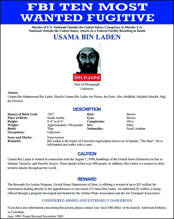 Ten Most Wanted Fugitives poster for bin Laden.
