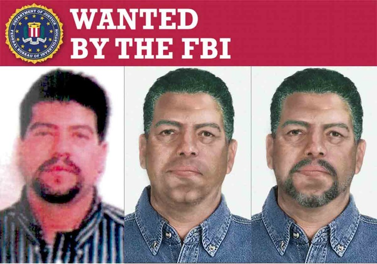 Photo array including two age-progressed photos of Mauro Ociel Valenzuela-Reyes under a Wanted by the FBI poster banner. Valenzuela-Reyes is a fugitive in the 1996 crash of a ValuJet plane near Miami