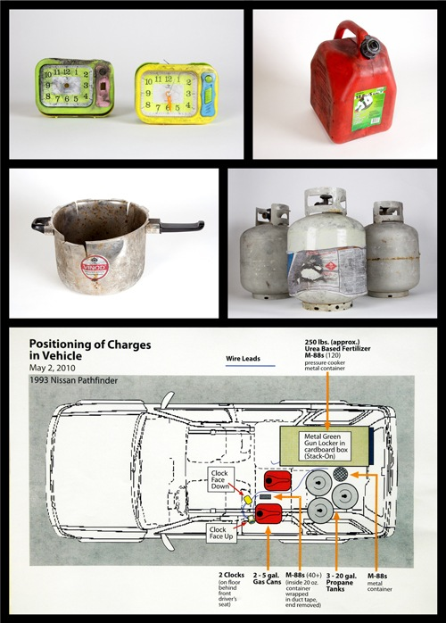 This diagram shows the layout inside an SUV that was rigged to explode in New York's Times Square in 2010. The homemade bomb—which failed to explode—included this gas can, propane tank, pressure cooker, and these alarm clocks. The items are on display along with the vehicle.