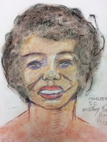 : Recent drawing by serial killer Samuel Little based on memories of his murder victims. Unmatched confession; black female, age 28; killed between 1977 and 1982 in Charleston, South Carolina.