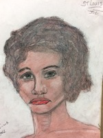Recent drawing by serial killer Samuel Little based on memories of his murder victims. Unmatched confession; black female, age 26; killed between 1976 and 1979 in Granite City, Illinois; met victim in St. Louis, Missouri; victim possibly called aJo.a