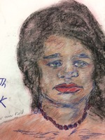 Recent drawing by serial killer Samuel Little based on memories of his murder victims. Unmatched confession; black female; killed in 1992 or 1993 in North Little Rock, Arkansas.