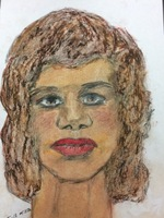 Recent drawing by serial killer Samuel Little based on memories of his murder victims. Confession matched to a Jane Doe; black female between 35-45 years old; killed in 1977 in Pascagoula, Mississippi; met victim in Gulfport, Mississippi; victim possibly worked at Ingalls Shipyard.