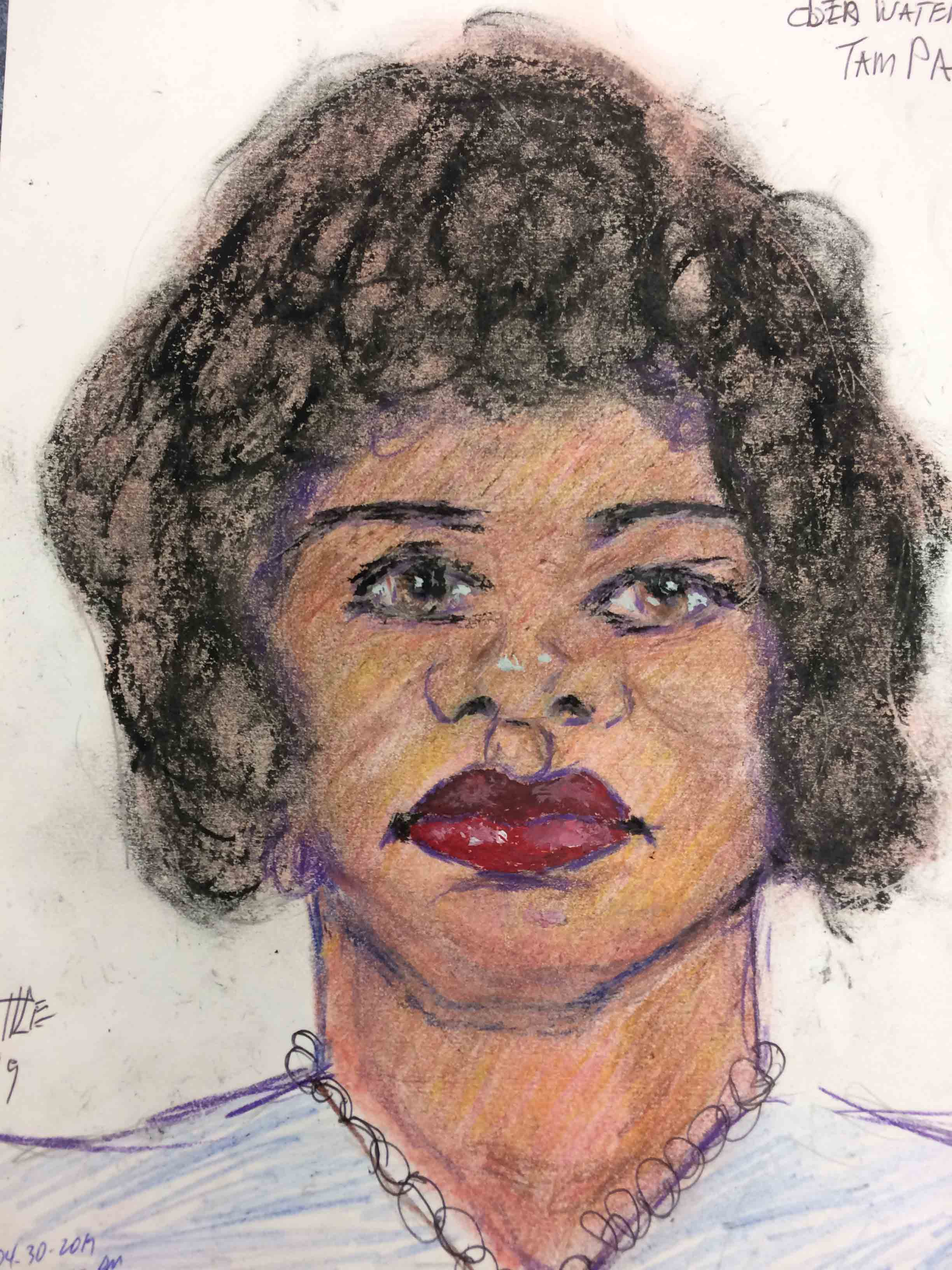 Samuel Little Drawing of Black Female Victim (Killed in 1977 or 1978, Plant City, Florida)