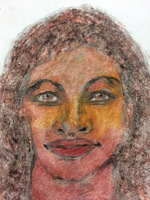 Recent drawing by serial killer Samuel Little based on memories of his murder victims. Unmatched confession; black female between 22-23 years old; killed in 1974 in Savannah, Georgia.