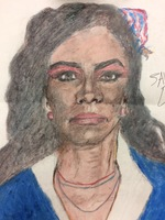 Recent drawing by serial killer Samuel Little based on memories of his murder victims. Unmatched confession; black female, age 23; killed in 1984 in Savannah, Georgia.