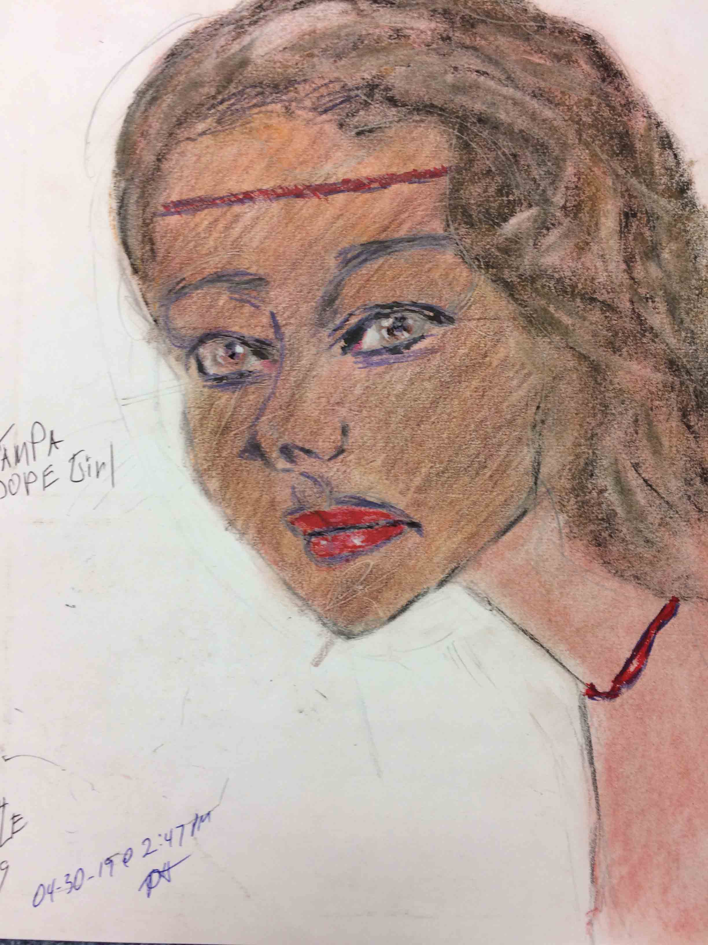 Samuel Little Drawing of Black Female Victim (Killed in 1984, Tampa Bay, Florida)