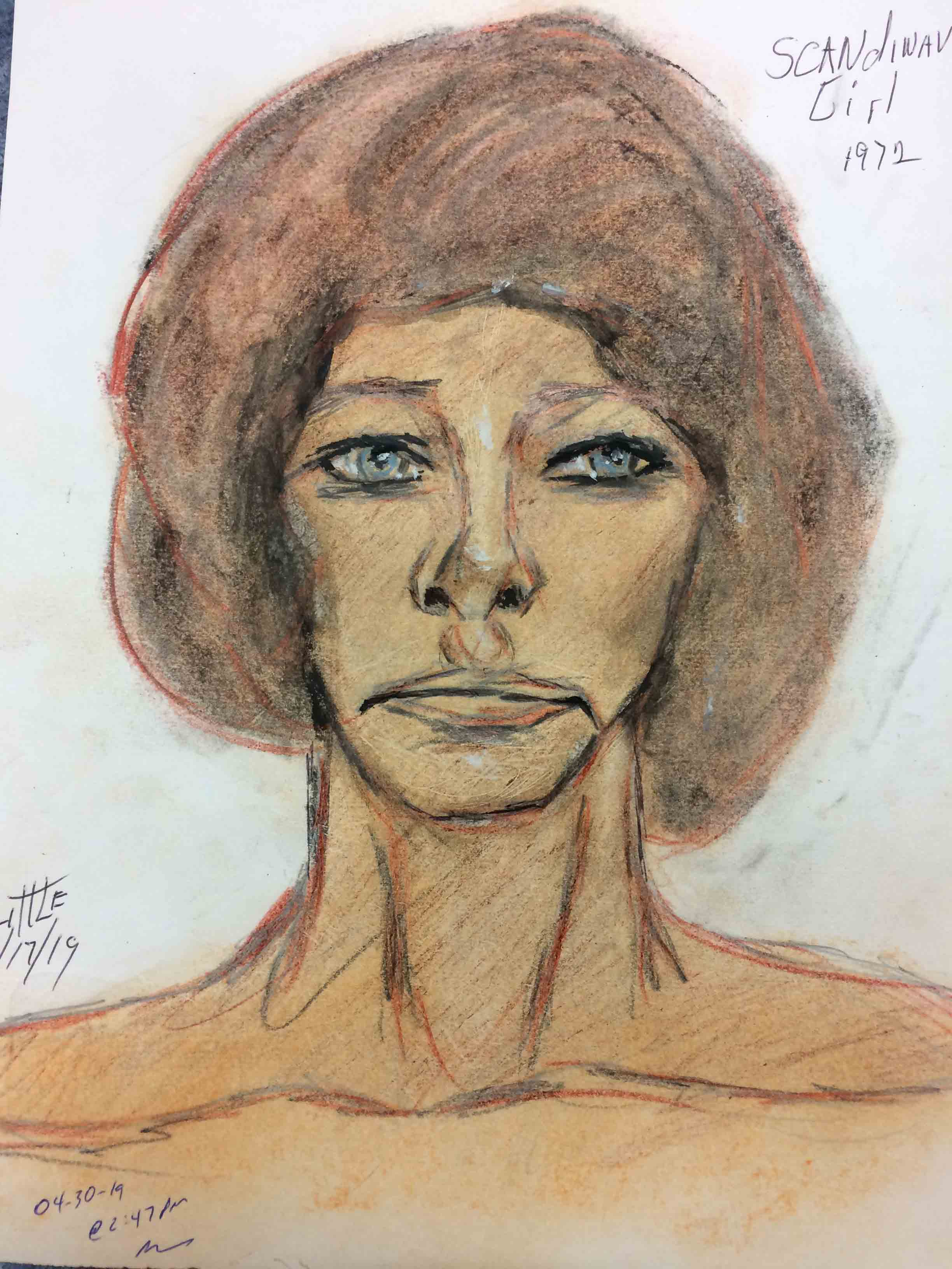Samuel Little Drawing of White Female Victim (Killed in 1970 or 1971, Homestead, Florida)