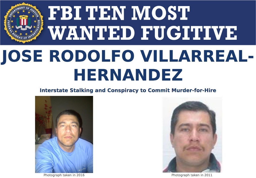 Screengrab of top portion of FBI Ten Most Wanted Fugitive Jose Rodolfo Villarreal-Hernandez's wanted poster.