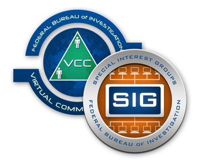 Virtual Command Center (VCC) and Special Interest Group (SIG) program seals, part of the Law Enforcement Enterprise Portal (LEEP).