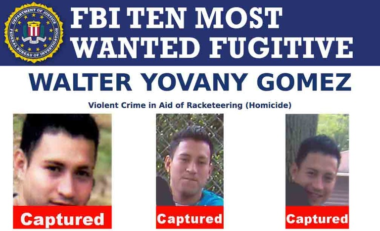 Screenshot of top portion of Walter Yovanny Gomez's FBI Ten Most Wanted Fugitive poster.