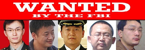 Wanted by the FBI banner above photos of Wang Dong, Sun Kailiang, Wen Xinyu, Huang Zhenyu, and Gu Chunhui.