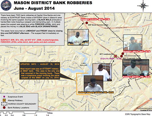"Mason District Bank Robberies: June - August 2014. There have been two bank robberies at Capital One Banks and one robbery at SunTrust Bank inside a Safeway store in Mason's area involving the same suspect. During each, a black male produces a handwritten note implying a weapon and demanding cash. In multiple cases, the suspect was wearing a white FOREVER LOYAL T-shirt and placed the money in a blue bag with black drawstrings The cases have occurred on a Monday and Friday close to closing time and Saturday afternoon. The suspect fled immediately on foot.The suspect is a black male in his 30s to 40s, 6'0""-6'3"" tall, 200 pounds, with a  mustache/goatee; he has worn a ""Forever Loyal"" white T-shirt, dark pants, and dark-colored hat. UPDATED INFO - AUGUST 15, 2014: Most recent case was an attempted robbery at BB&T bank. This case is the only one that occurred in the morning hours. There was a suspicious event involving the same suspect at this BB&T on July, 21, 2014."
