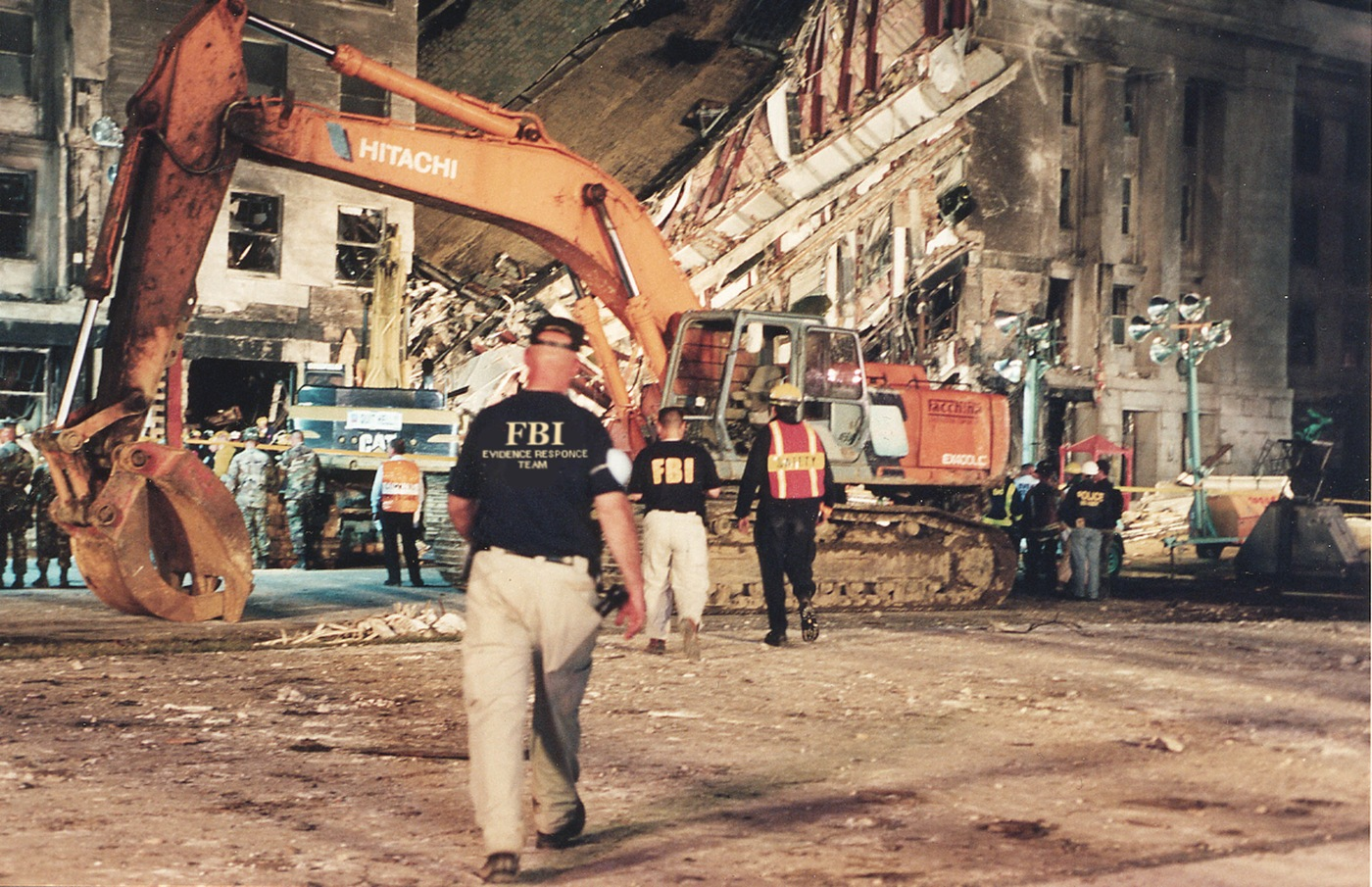 Washington Field Office Evidence Response Team members at the Pentagon shortly after the attack on 9/11.