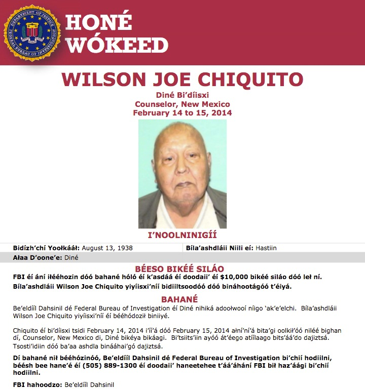 Screenshot of Navajo translation of Seeking Information poster for Wilson Joe Chiquito, who was murdered in his home in Counselor, New Mexico, in February 2014.