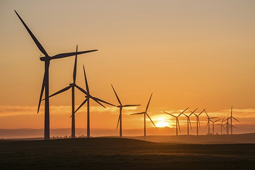 Wind Turbines at Sunset (Stock Image)