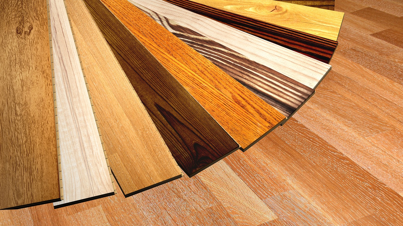 Stock image depicting a variety of wood flooring samples