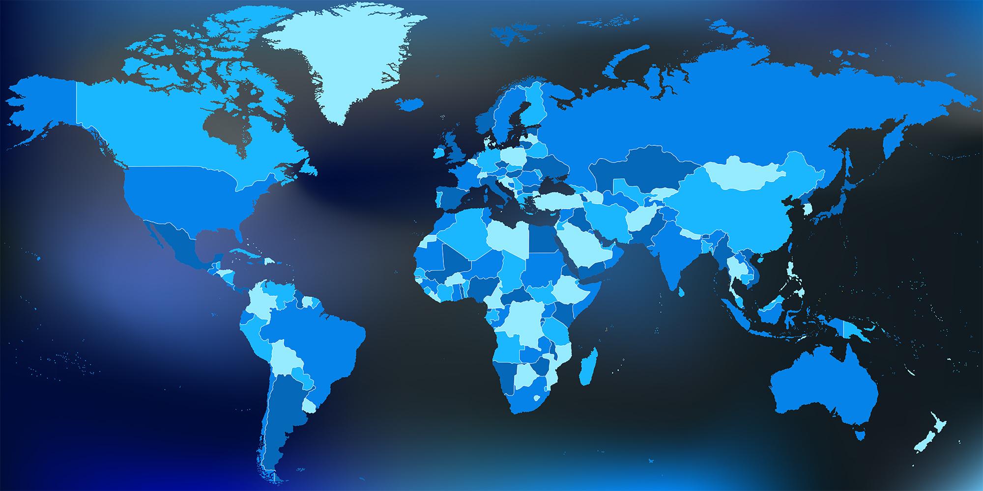 Dark map of the entire world.