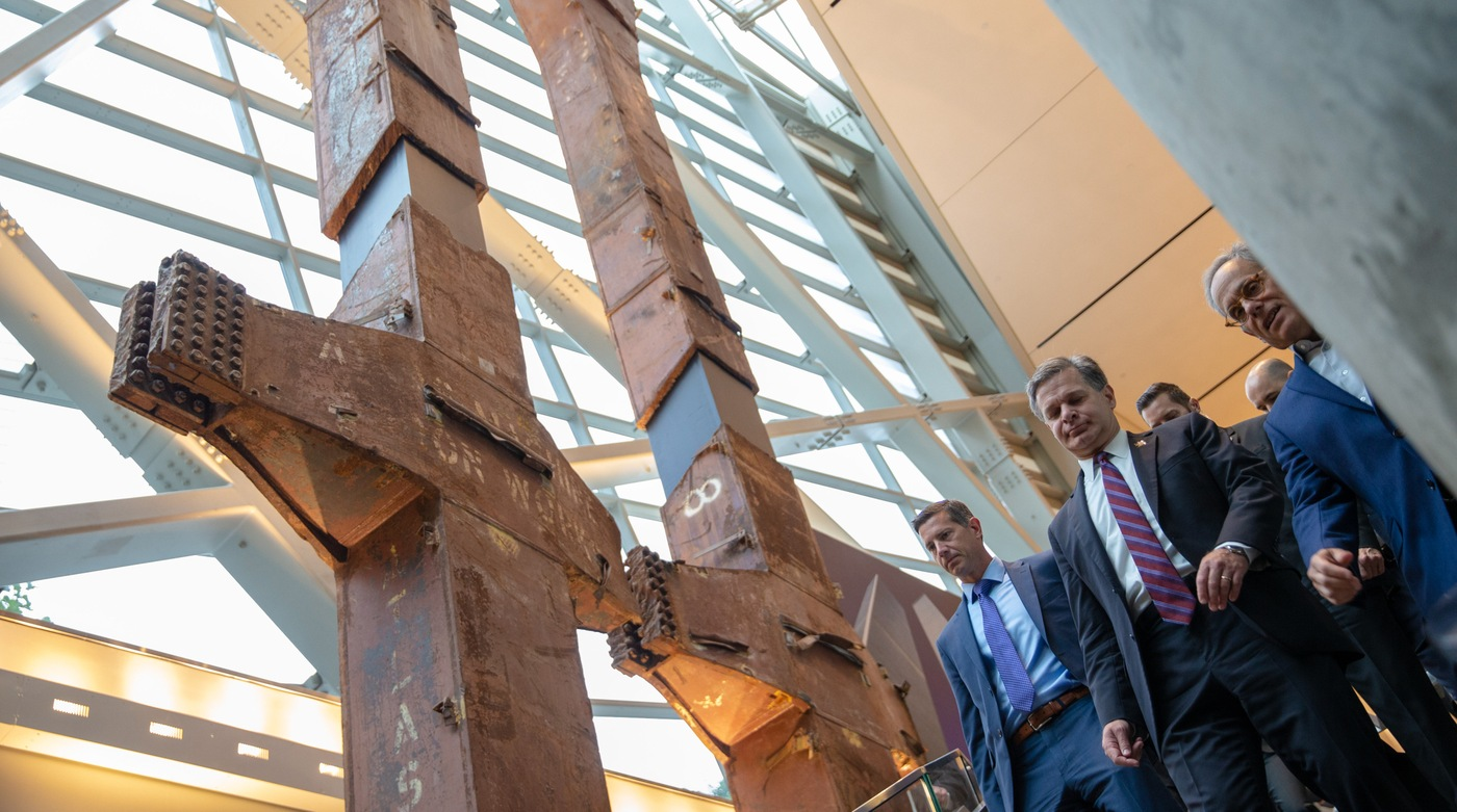 FBI Director Christopher Wray tours the 9/11 Memorial & Museum in New York City on September 7, 2018. (Photo credit: Jin S. Lee, 9/11 Memorial)
