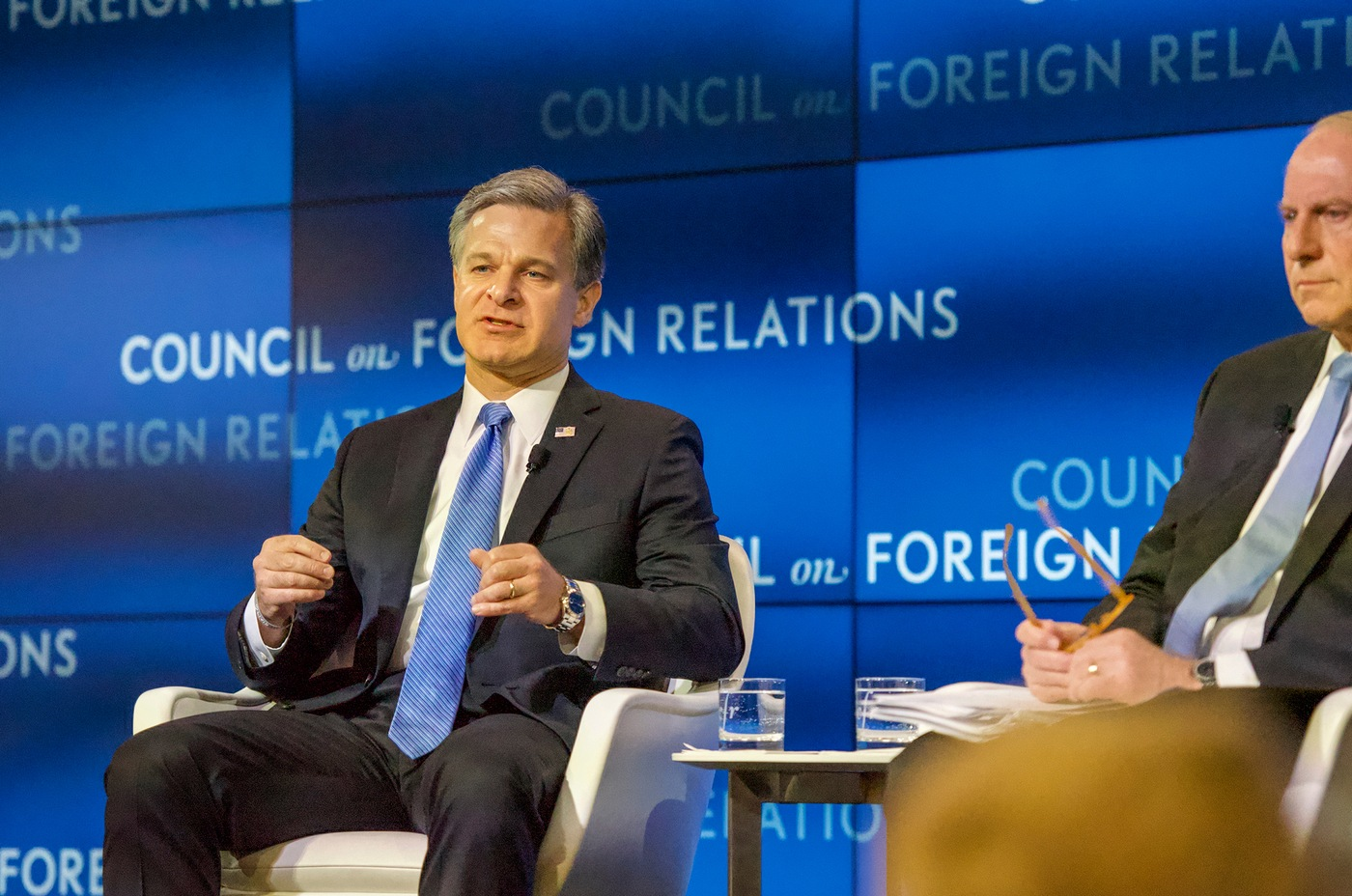 FBI Director Christopher Wray answers questions during an interview with Richard N. Haass, president of the Council on Foreign Relations, on April 26, 2019 in Washington, D.C.