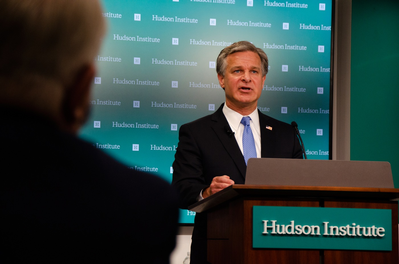 FBI Director Christopher Wray speaks at the Hudson Institute in Washington, D.C. on July 7, 2020, regarding the threat posed by China to U.S. economic and national security.