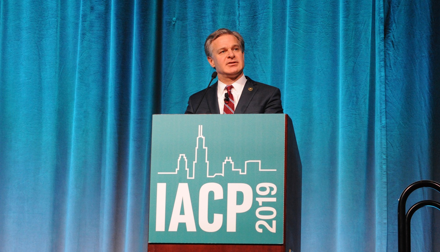 FBI Director Christopher Wray addresses the International Association of Chiefs of Police annual conference in Chicago on October 26, 2019.