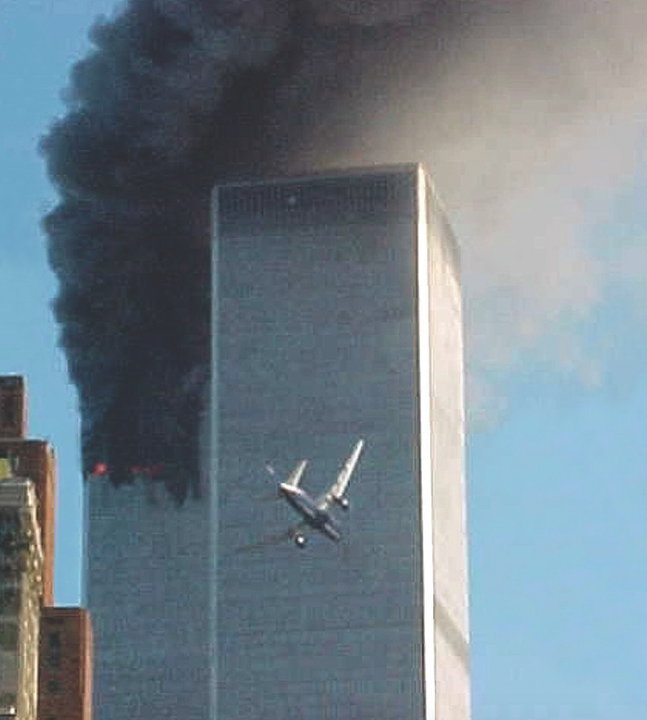 The second hijacked airplane moments before it crashes into the south tower of the World Trade Center at 9:03 a.m. AP Photo.