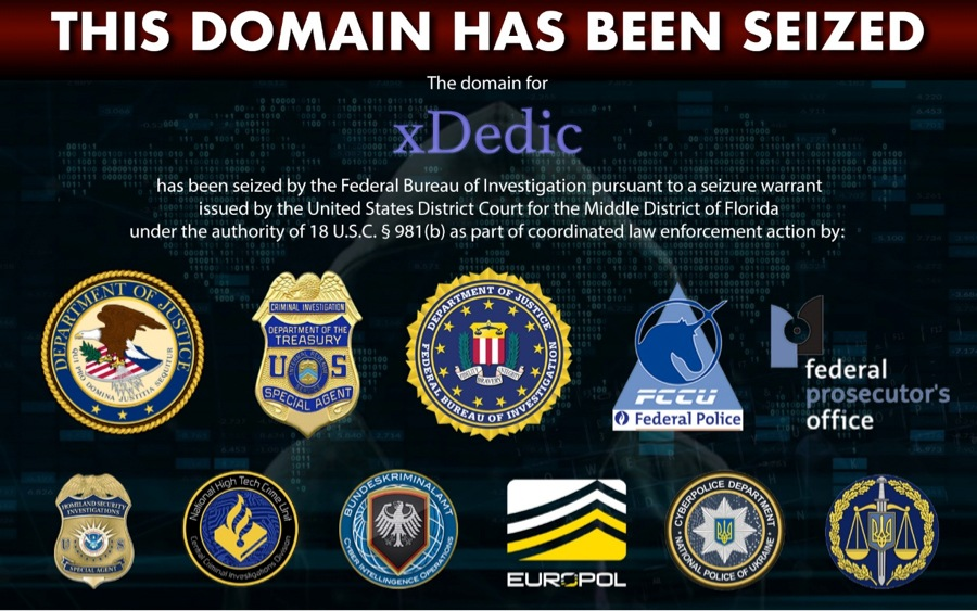 Splash page graphic with multiple agency seals stating that the domain for xDedic has been seized by the FBI as part of a coordinated law enforcement action.