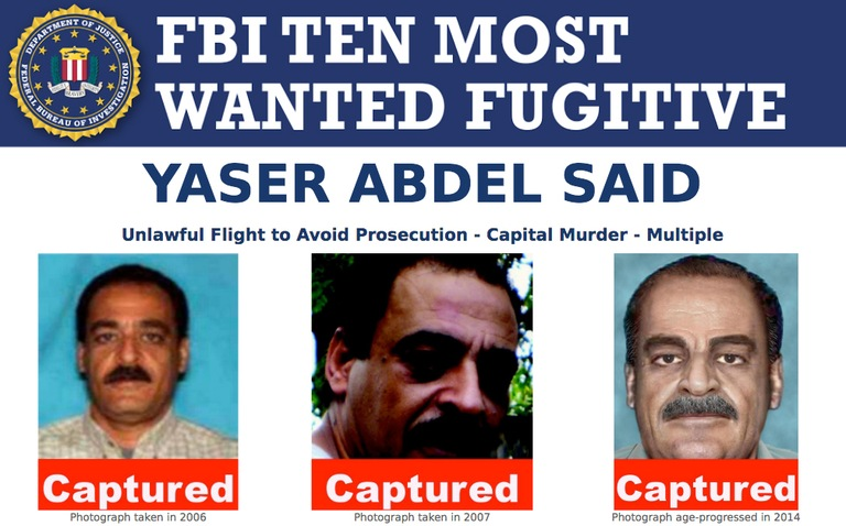 Screenshot of top portion of Yaser Abdel Said's Ten Most Wanted Fugitive poster with Captured banner.